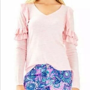 Lilly Pulitzer Sweater Pink Ruffles V-Neck Small